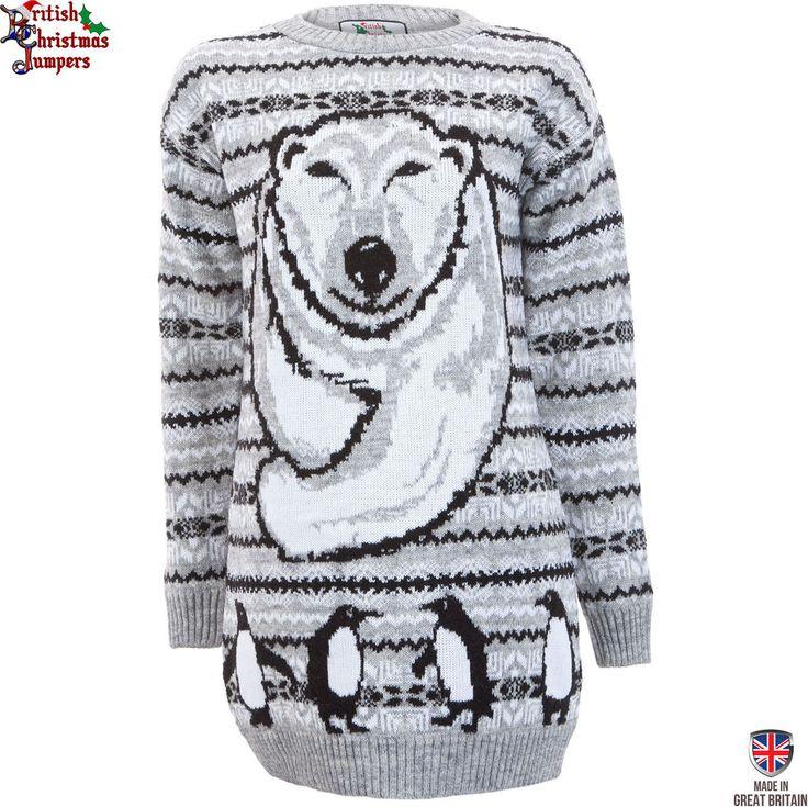 Polar Bear Xmas - Womens Christmas Jumper Dress | Sweateronline - Fine British Knitwear - Made in Great Britain