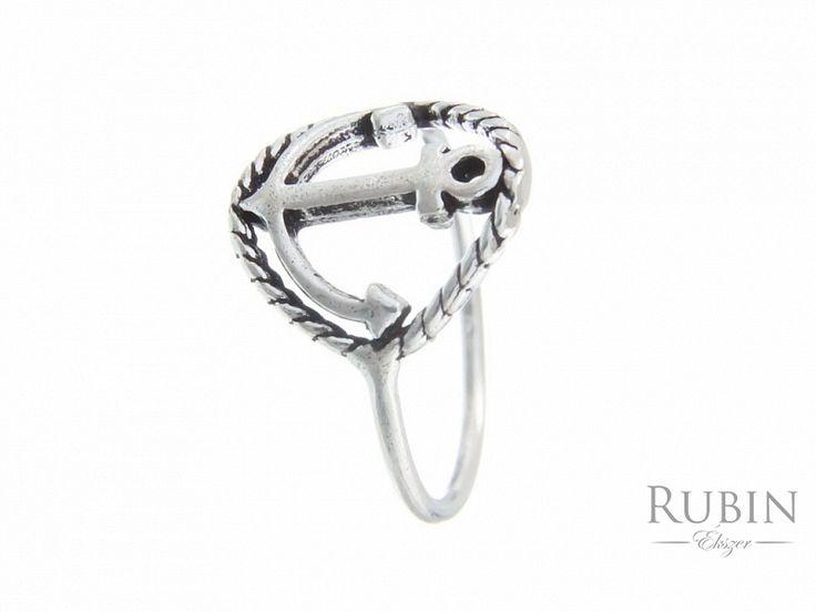 Horgony motívumos antikolt ezüst gyűrű