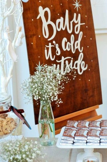 Baby It's Cold Outside Winter and Christmas Baby Shower decoration ideas