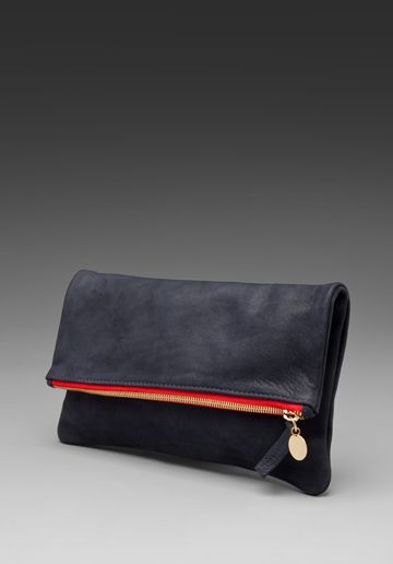 Foldover Clutch in Navy/Red / Clare Vivier