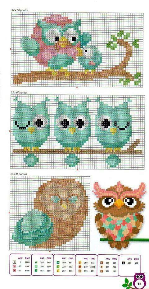 owls - cross stitch