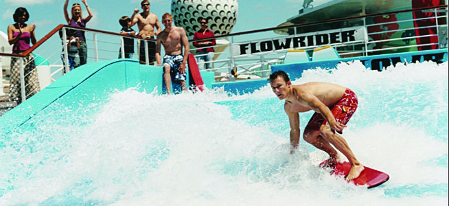 Test your skills aboard the FlowRider on a Royal Caribbean Cruise