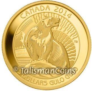 Canada 2014 Untamed Canadian Wildlife #3 - Wolverine Gulo Gulo $25 1/4 Troy Ounce .9999 Pure Gold Proof GX