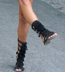 7d62cf09663b Black Fringe Gladiator Sandals ~ Knee High Sandals