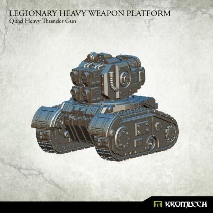 This set contains one resin Legionary Heavy Weapon Platform armed with Quad Heavy Thunder Gun. Designed to fit futuristic 28mm heroic scale vehicles. This model is approximately 53mm long, 44mm wide and 45mm height.