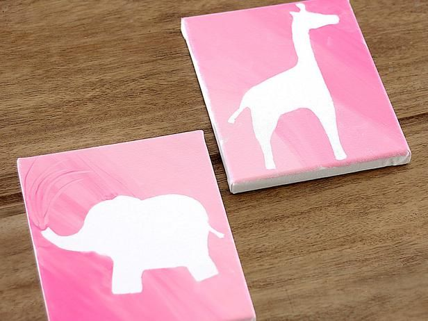 DIY Silhouette Artwork! See how to do it >> http://www.diynetwork.com/decorating/how-to-make-silhouette-canvas-artwork-for-a-childs-bedroom/pictures/index.html?soc=pinterest# it would be cool to do this with a silhouette of their faces