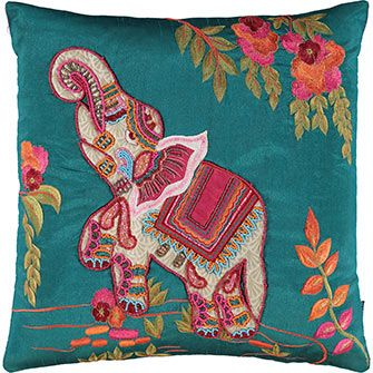 Teal & Pink Elephant Embroidered Cushion 45x45cm