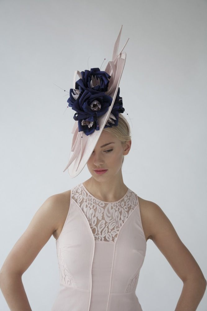 Floral bouquet (front view) | Joanne Edwards Millinery | Spring-Summer 2015 | Sinamay hat with handmade silk flowers, sinamay twists and swarvoski beads