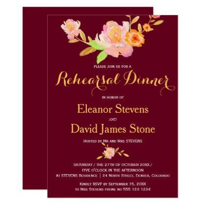 #Floral burgundy gold fall wedding rehearsal dinner card - #weddinginvitations #wedding #invitations #party #card #cards #invitation #modern