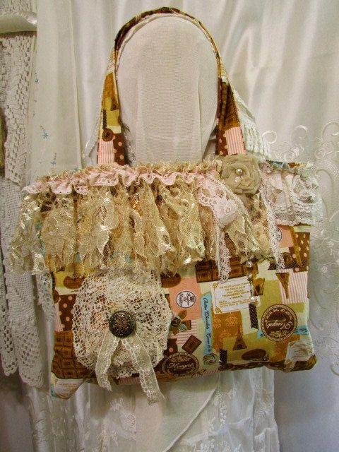 Shabby fabric handbag romantic cottage chic by TatteredDelicates