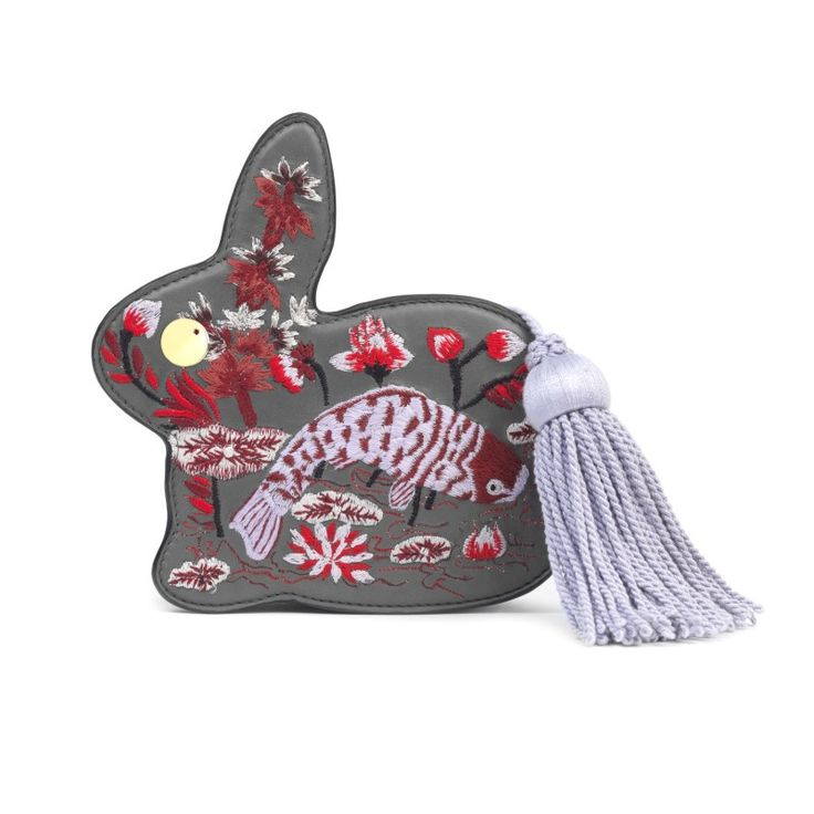 BUNNY CLUTCH IN EMBROIDERED GREY NAPPA WITH LILAC TASSEL