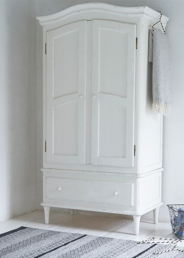 Loaf's hand-painted wooden Timbers wardrobe in vintage white