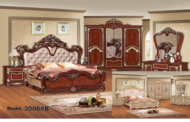Mewah bedroom furniture set, China Deluxe enam-piece suit