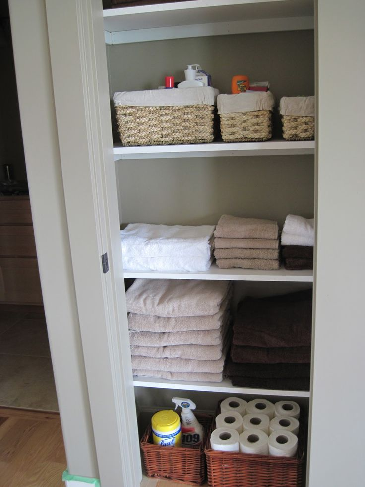 My husband was working on closets this weekend.  We have a small hallway closet upstairs for linens and supplies.  I had him build some whi...