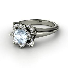 Lotus Ring, Round Aquamarine White Gold Ring with Diamond from Gemvara... beautiful!