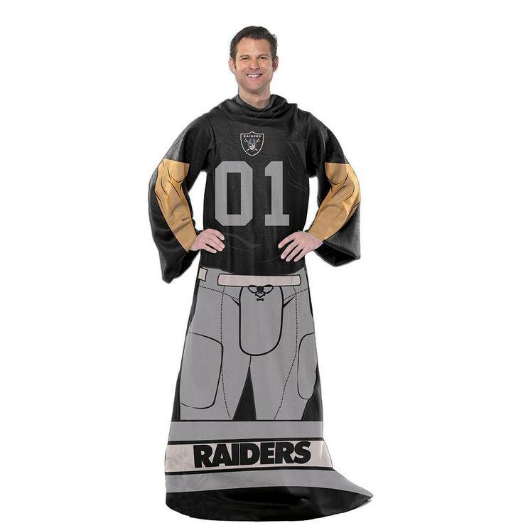 Oakland Raiders NFL Uniform Comfy Throw Blanket w/ Sleeves