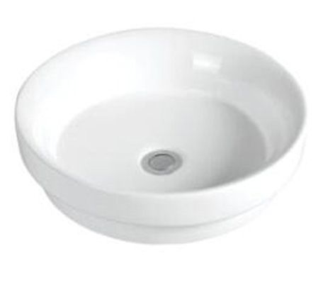 Pure Round Drop-in basin. Dimensions: 400mm (diam) x 110mm (H) No tap holes, 32mm waste
