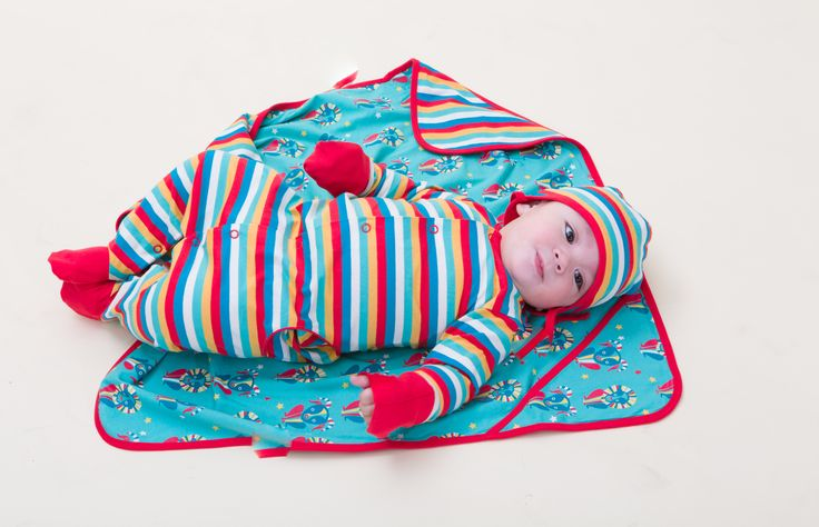 Spring Rainbow Stripe Multi Talented Playsuit, Spring Rainbow Stripe Baby Cap, and The Tale of the Goat & the Lion Blanket