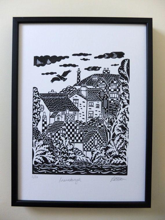 this listing is for a limited edition original lino print of my design knaresborough knaresborough