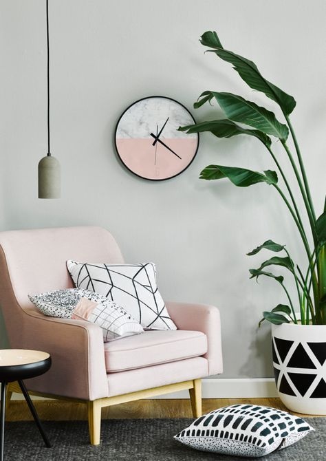 geometric black, white, and blush pink reading nook