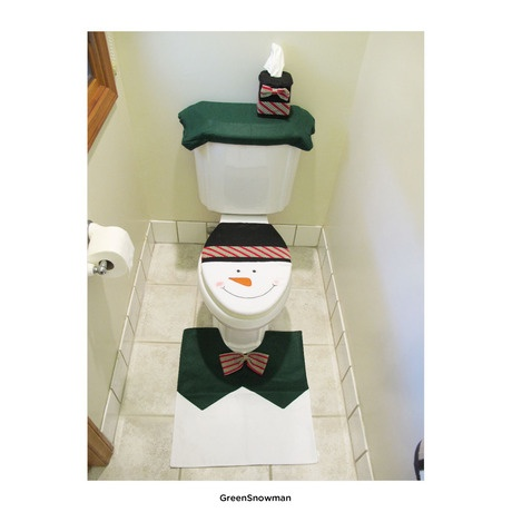 4 Pcs Christmas Santa Bathroom Toilet Seat Cover And Rug Set Green Snowman