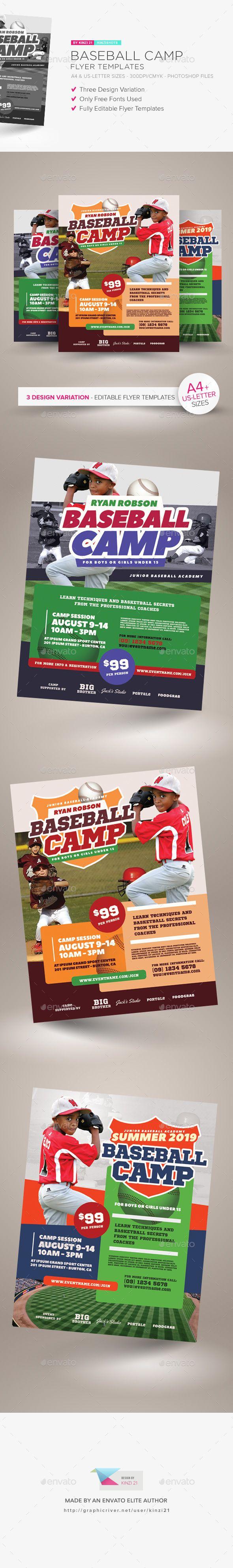 Baseball Camp Flyer Templates — Photoshop PSD #coaching #cap • Download ➝ https://graphicriver.net/item/baseball-camp-flyer-templates/21153665?ref=pxcr