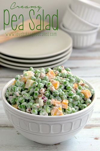 Creamy Pea Salad - This salad is a nice change from the typical potato or pasta salads. It requires very little cooking and a little bit of chopping - it could easily be a no cook recipe if you buy precooked bacon! It doesn't get much easier than that! by lovebakesgoodcakes, via Flickr