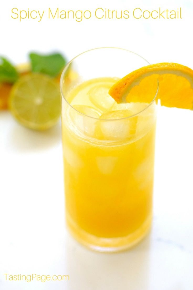 Spicy Mango Citrus Cocktail with mango, orange, lime, mint and ...