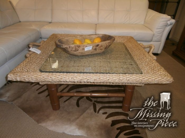tropical transition woven rattan coffee table center glass protector beverage measures with storage sofa and set round top