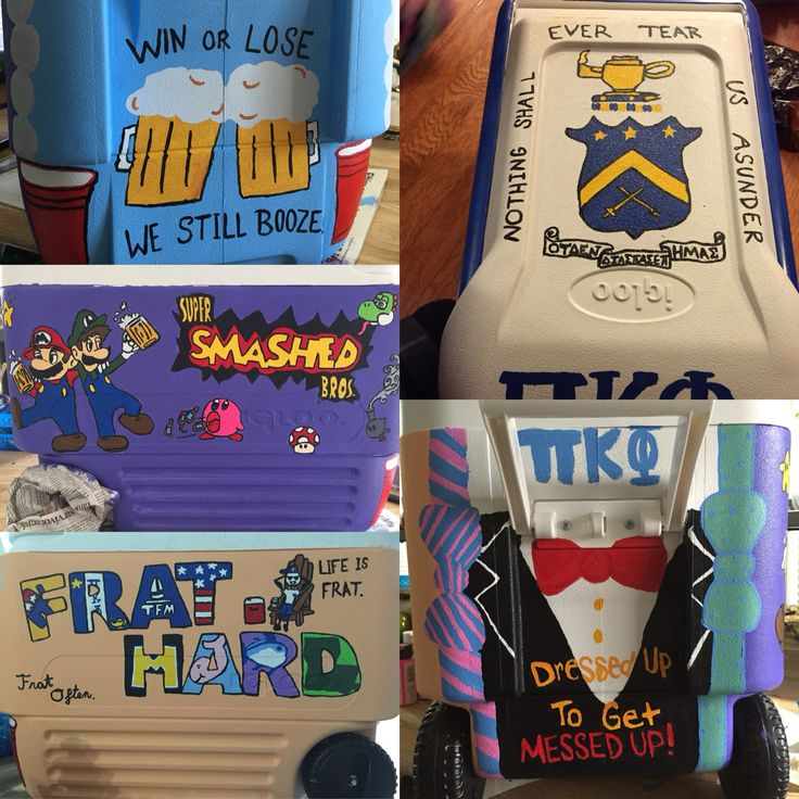 Cooler I made for my boyfriend :) Pi Kappa Phi Fraternity hand painted ice chest