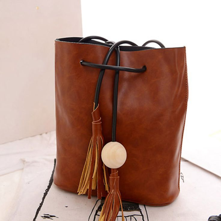 Vintage Tassel Bucket Bag Women Fringe White Ball Female Messenger Shoulder Crossbody Bag PU Leather Satchel String Handbag //Price: $21.14 & FREE Shipping //     #womenbags