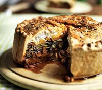 Borlotti bean, squash, red pepper and chard pie with goat's cheese