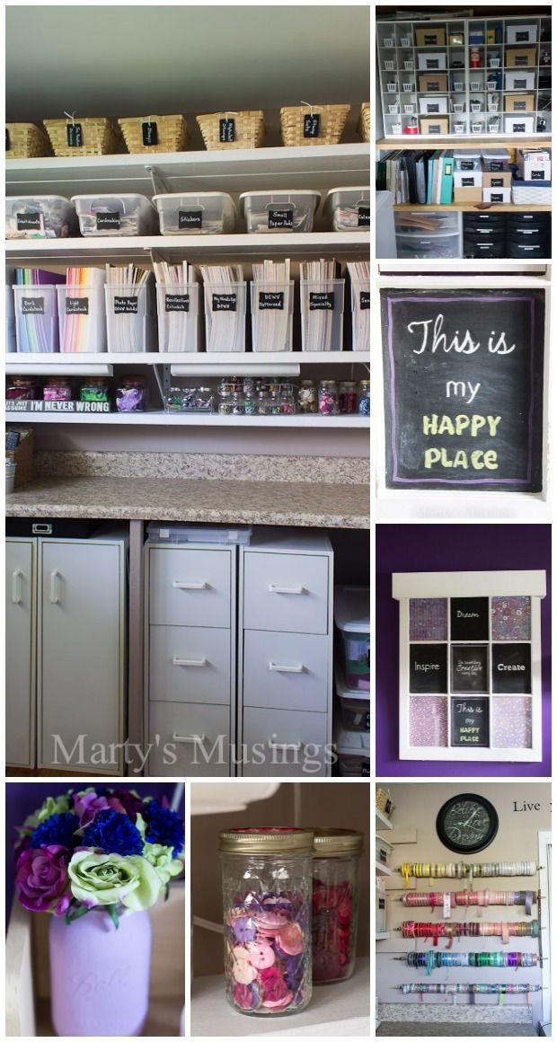 Experienced crafter Marty's Musings shares her craft room makeover with organization ideas and tips on paper storage, repurposing and decorating on a budget. Find creative ways to store your ribbon, embellishments, books and buttons while still maintaining a room that is beautiful