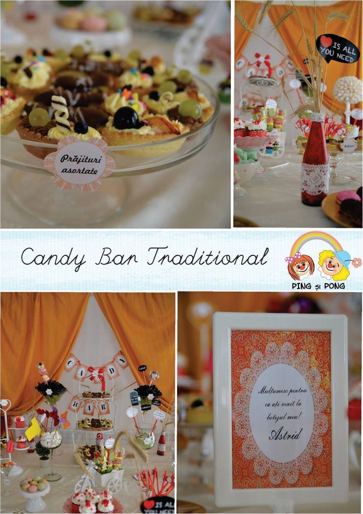 Candy bar botez  Alegeţi un candy bar făcut special pentru petrecerea lor. Puteţi opta pentru un aranjament în ton cu tema petrecerii, unul clasic, colorat, sau unul pe bază de fructe şi gustări sănătoase. Candy bar personalizat in orice locatie din Alba Iulia, Sebes, Blaj, Cugir, Aiud etc. Contact: www.pingsipong.ro