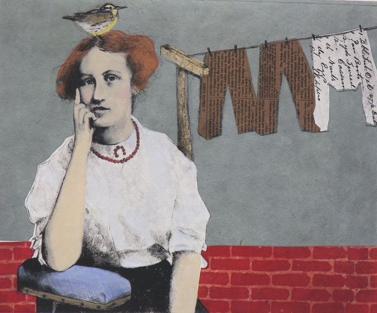 Waiting.... handcolored etching with chine colle of  handmade paper ... $225. unframed  8x10