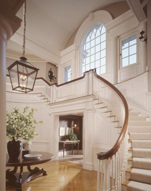 Elegant Foyer Entrances : Elegant staircase in this entry entryways foyers