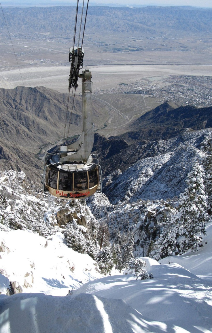 World largest 360 rotating aerial tram in Palm Springs, California. Amazing as it goes through all ecosystems. Hot desert at bottom, cold pine forest at top and the sunsets from the top of Mt. San Jacinto are very pretty.