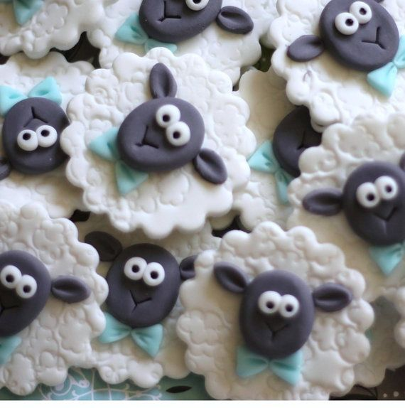 Sheep Fondant Toppers with Bow Ties  Perfect for by LesPopSweets, $22.99