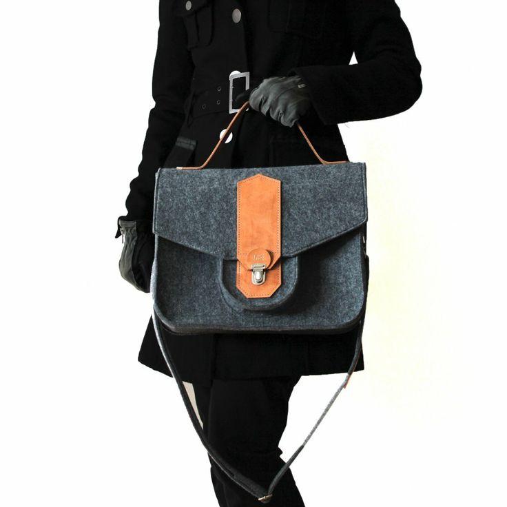 Troyka - torebka z filcu i skóry juchtowej (proj. Javore), do kupienia w DecoBazaar.com