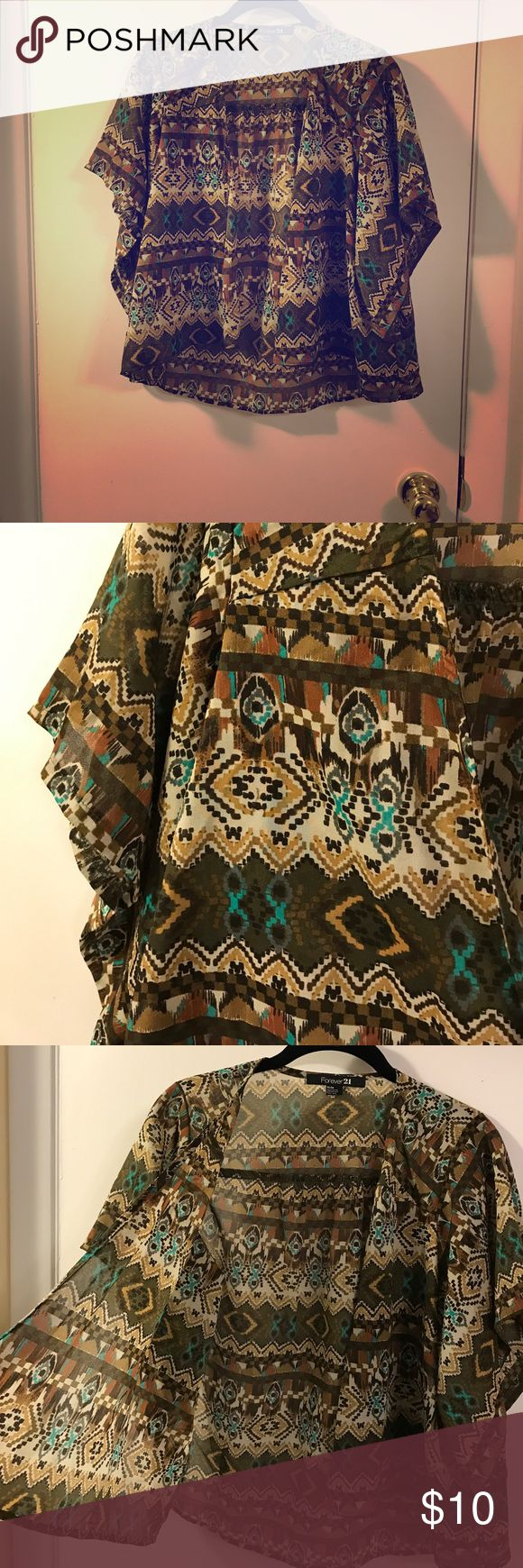 A top. Aztec print, light top. Kimono style. To be worn over a cami. Forever 21 Tops Blouses