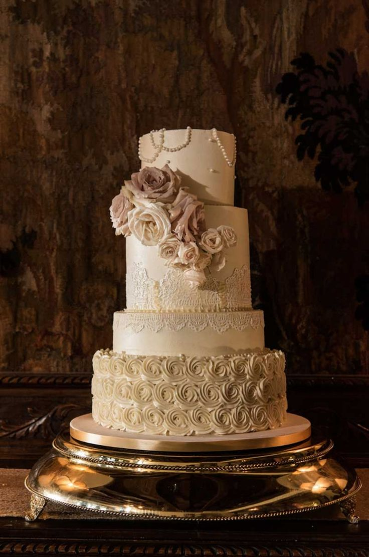 Ivory and Blush Buttercream Wedding Cake by Le Petit Sweet - Elegant Casa Feliz Wedding - Winter Park, FL Wedding Venue - Photographer: Sophia's Art Photography - Orange Blossom Bride - Central Florida Weddings - www.orangeblossombride.com - click pin for more