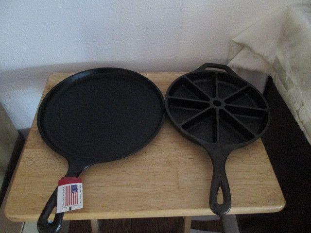 "Lodge Cast Iron 10 1/2"" Griddle & Cast Iron Cornbread Pan"