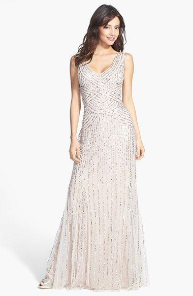 Aidan Mattox Sleeveless Embroidered Mesh Gown available at #Nordstrom