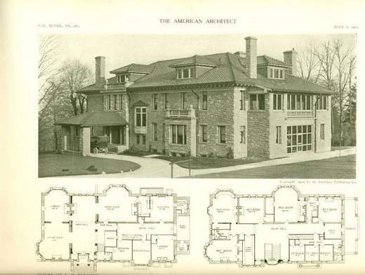 The Stearns Mansion picture with plans. Wyoming Ohio. The Stearns and Foster Co.