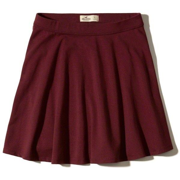 Hollister Knit Skater Skirt (680.645 VND) ❤ liked on Polyvore featuring skirts, jupe, burgundy, skater skirt, red knee length skirt, circle skirt, burgundy skirt and red skirt