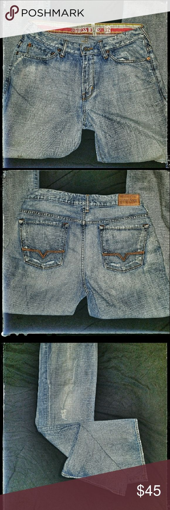 GUESS MEN'S 'CLIFF' BOOTCUT JEANS Gently Used, No Signs Of Wear Boot Cut 32x33 Light Wash Distressed Look Zip Fly Guess Jeans Bootcut