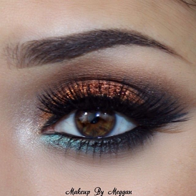 ♡ Make up for brown eyes Love the gold look!