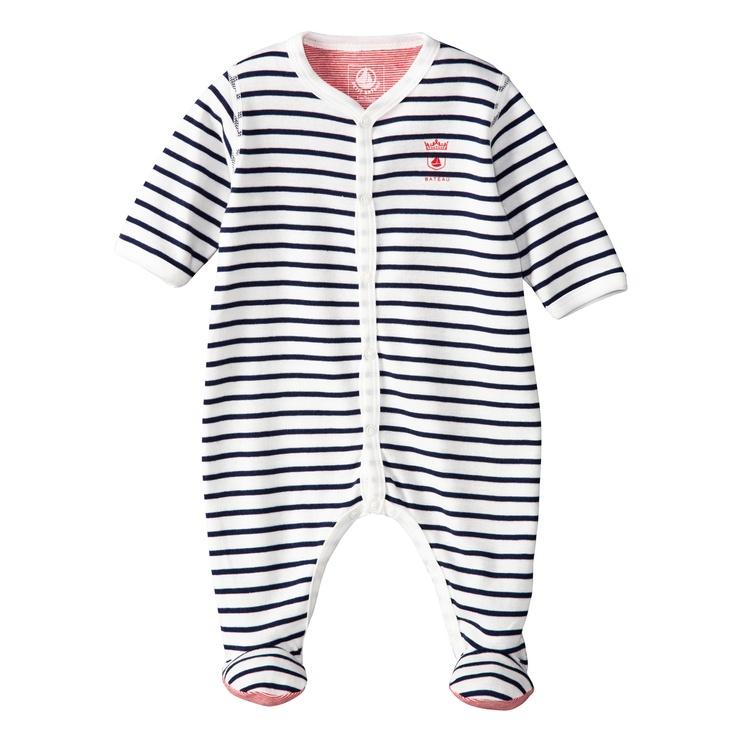 Pyjama en côte rayé noir et blanc. Manches longues. Col légèrement en V avec  ouverture pressionnée sur le devant. Dessous des pieds et intérieur en  coloris ... 461c8fd09b1