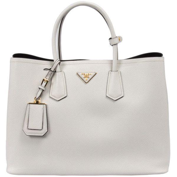 Prada Saffiano Leather Tote (£1,060) ❤ liked on Polyvore featuring bags, handbags, tote bags, purses, accessories, bolsas, white, tote bag purse, handbags totes and man bag