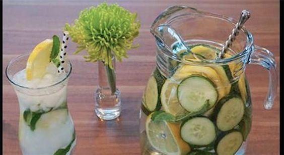 - 8 glas vand (omkring 1,5 l),  - en stor skefuld revet ingefær,  - 1 skiveskåret agurk,  - 1 skiveskåret citron,  - 12 blade mynte.   Tilberedningsmetoden er enkel – alle ingredienserne overhældes med vandet, og trækker natten over, bedst på et køligt sted. I løbet af dagen indtager du den drik, hver gang du er tørstig. Et stort plus ved denne fedtforbrænder er dens lækre, forfriskende smag